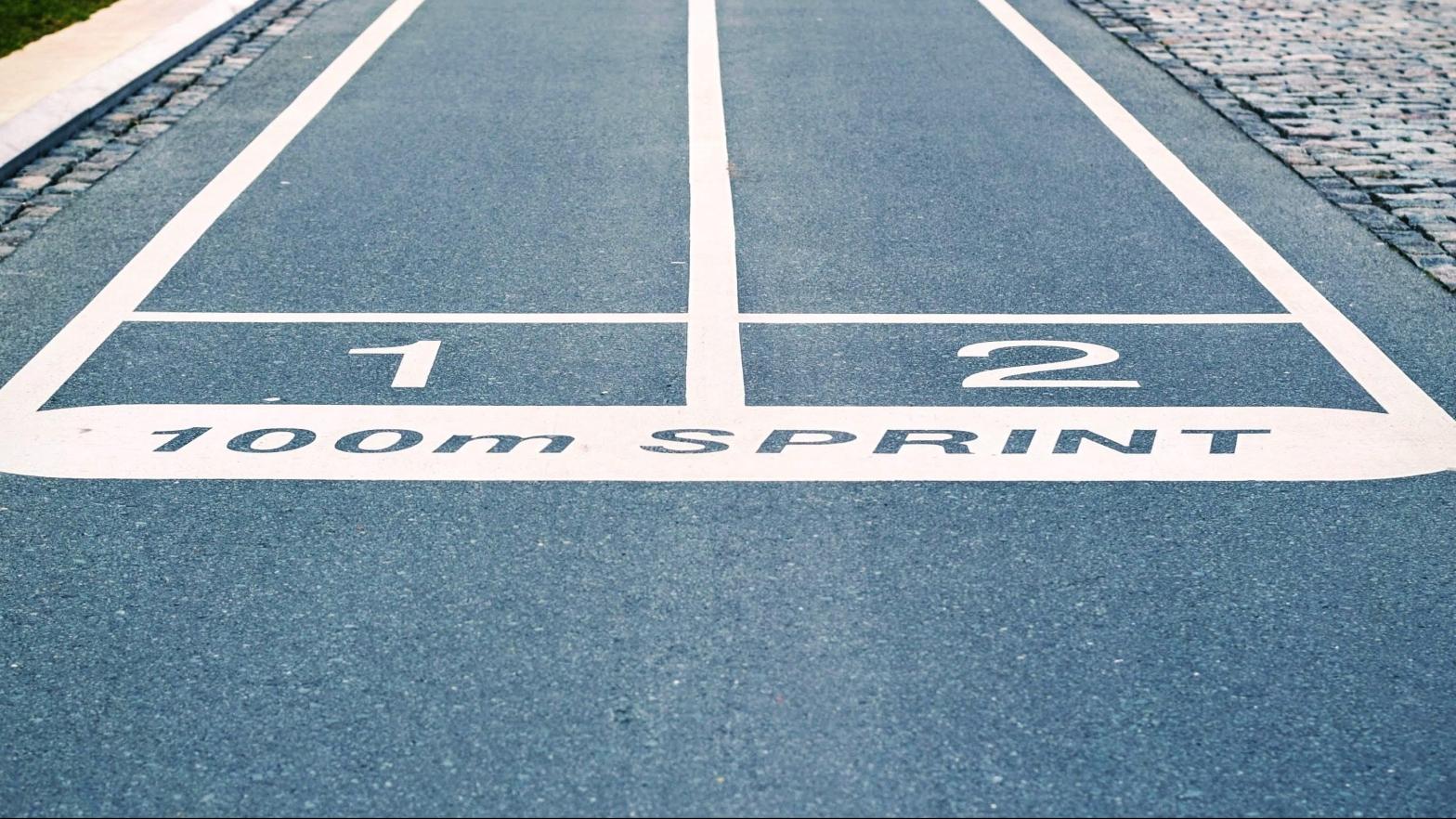 start line for 100 metre sprint